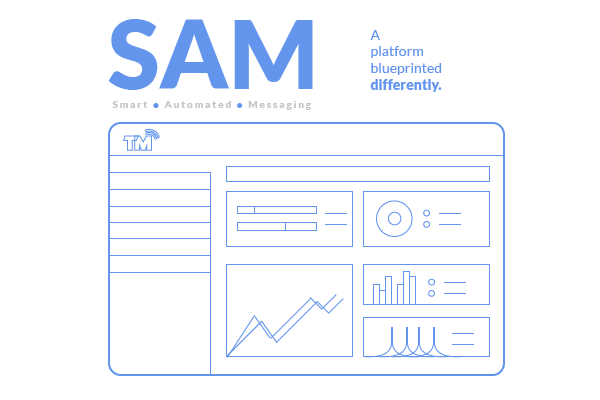 Blog image of a simple blue printed mock up of SAM.